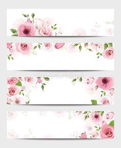 Set of four vector web banners with pink roses and lisianthus flowers. Vintage Flowers Wallpaper, Flower Background Wallpaper, Flower Backgrounds, Floral Banners, Floral Logo, Web Banners, Lisianthus Flowers, Wallpaper Shelves, Instagram Frame