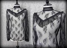 Elegant Gothic Black Rose Lace High Neck Ruffle Top 10 12 Victorian Vintage | THE WILTED ROSE GARDEN
