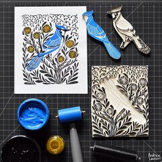 Enjoying an early morning printing session with this new bluejay scene I finished carving yesterday! Looking forward to a busy design workday and ticking the boxes on my to-do list.