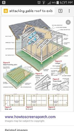 to Build a Porch: Screen Porch Construction Add an enclosed screen porch to your house using basic framing and deck building techniques.Add an enclosed screen porch to your house using basic framing and deck building techniques. Building A Porch, Building Plans, Porch Roof, Covered Decks, Covered Deck Designs, Covered Patio Plans, Covered Pergola, Room Additions, Decks And Porches