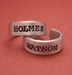 Sherlock Holmes Inspired - Holmes and Watson - A Pair of Hand Stamped Aluminum Rings from chasingatstarlight on Etsy. Saved to Rings.