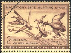 1953 Federal Duck Stamp by Clayton B. Seagears.     India ink wash drawing of Blue-winged Teal by Clayton B. Seagears, former Director of Conservation Education for the New York Department of Environmental Conservation. (Deceased)