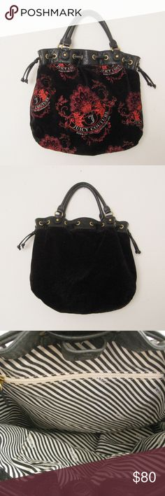"""Juicy Couture Black/Red Velour Bag Authentic JUICY COUTURE Black & Red Velour Bag. Very good condition.  Dimensions: 12""""H x 15""""W , strap drop 6"""" ⚜❌SWAP❌TRADE ⚜✔BUNDLES📦 ⚜✔Smoke-free/Pet-free home Juicy Couture Bags Shoulder Bags"""