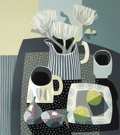 Jane Walker LEMONS Linocut H 58 cm x 54 cm Framed H 29 cm x 25 cm Image size Edition 4/12    #linocut #printmaking #JaneWalker #Spring #Exhibition #Oxford