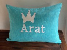 Custom Baby Boy Name Pillow Cover-Blue and White by Snazzyliving