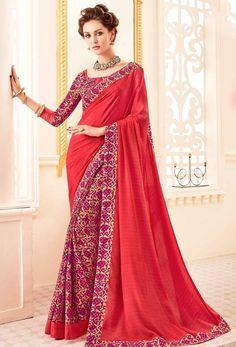 Crimson #Red #Crepe #Silk #Printed #Saree #nikvik  #usa #designer #australia #canada #freeshipping #dress #saris