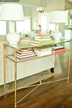 console table staging / display// brass// gold// couch table// glass