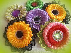 DIY for Girls: kanzashi flower/ Зефирки из лепестков, канзаши/ МК/ DIY/л...
