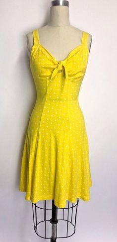 Vintage 80s does 50s Lemon Yellow floral Party Sundress Swing Dress Pinup Sz S  #SouthBeach #Sundress #Party