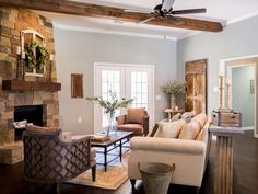 Design Dilemma: How to Arrange Furniture Around A Corner Fireplace (blog post with tips and inspiration). Image: Fixer Upper from HGTV
