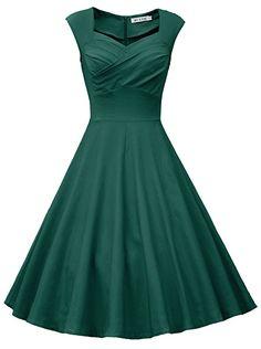 MUXXN Women's Sweetheart Neckline Knee Length Formal Dress (M Dark Green)