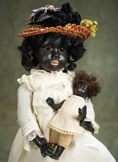 German Black-Complexioned All-Bisque Doll by Gebruder Heubach 500/800