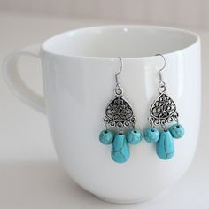 Turquoise Tibetan Earrings by AzureaStudio on Etsy, $9.00