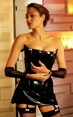 Mr. & Mrs. Smith, Angelina Jolie | Yowza! Jane's (Jolie) leather dominatrix getup was not just an effective — and disarming — disguise, it was part of a complete wardrobe that netted…