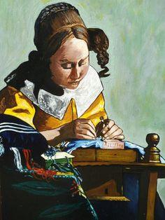 La dentellière - J. Vermeer - 1669/70. Reproduction à l'acrylique sur panneau en bois, vernie, vendue sans cadre. Travail artisanal soigné par copiste. Dimensions : 29 x 39 cm. Épaisseur : 5 mm. A vendre. Prix : 60 €.
