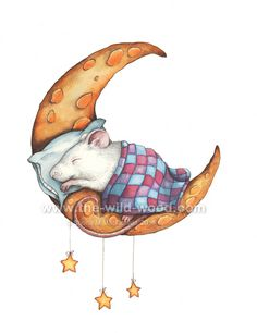 Mouse Moon by WildWoodArtsCo on DeviantArt Funny Mouse, Cute Mouse, Mouse Illustration, Watercolor Illustration, Animals Images, Cute Animals, Christmas Rock, Rabbit Art, Christmas Pictures