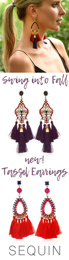 Add some statement swing into your step with tassel earrings! Our newest capsule collection features silk tassels in bold, shoulder-grazing designs with pops of color and shimmering detail. Designed & handcrafted in the USA with components from around the world.