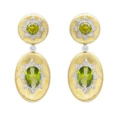 Buccellati 18k Gold & Peridot Drop Earrings with Diamond