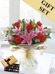 Red Rose & Pink Lily Hand-Tied & Chocolates