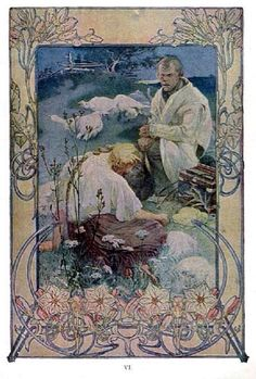 The Beatitudes, with illustrations in color by Alphonse Mucha. Plate 6: Blessed are the poor in spirit, for theirs is the Kingdom of heaven. Published in Everybody's Magazine, Christmas, 1906