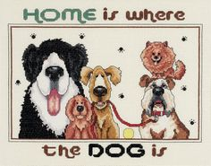 Janlynn Cross Stitch Kit, 11-Inch by 14-Inch, Home Is Where The Dog Is Janlynn
