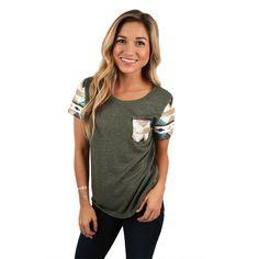 Sequin Sass Top Sage   Impressions Online Women's Clothing Boutique