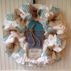 Flip flop wreath, summer burlap wreath, beach wreath, flip flop door hanger, white burlap wreath, white and turquoise wreath, flip flop by TheOrnateDoor on Etsy