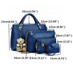 Women Crocodile Handbags Ladies Crossbody Bags Clutches Card Holder Purse 4 Pcs