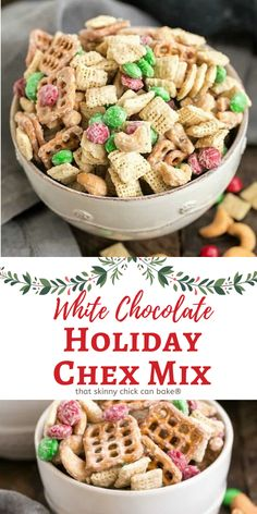 Party mix is always a popular choice for parties, and this addicting White Chocolate Cashew Party Mix recipe is perfect for holiday entertaining! Tart Recipes, Best Dessert Recipes, Desert Recipes, Sweet Recipes, Holiday Recipes, Snack Recipes, Holiday Foods, Christmas Recipes, Cookie Recipes