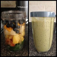Before (minus the coconut milk) and after! #nutribullet #breakfast #healthy #delicious #yummy #getfit #spinach #plum #pineapple #banana #mango #blueberries #coconutmilk #nofilter #nutriblast