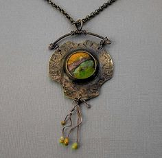 No solder bezel and  enamel pendant by Vintajia Adornments, via Flickr