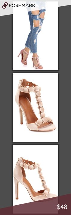 """NIB Nude Velvet Heels NIB  Upgrade your look with these trendy velvet heels! They feature a back zipper, a T strap, metal hardware and round button details, an open toe, a stiletto heel, a faux leather lined interior and an exterior velvet material.  Approx. 4.5"""" heel Shoes Heels"""