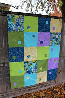 A nice colour combo  and interesting colour block quilting. I like the miniature boxes in the big boxes.