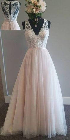 NEW! Modest Tulle V-neck Neckline A-Line Wedding Dress With Lace Appliques & Belt
