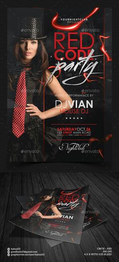 Red Code Party Flyer Template — Photoshop PSD #club #code • Available here → https://graphicriver.net/item/red-code-party-flyer-template/8838656?ref=pxcr
