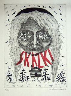 Baba Yaga  Chine colle etching print by autopilotpress on Etsy