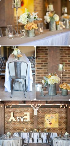 A Warm and Inviting Industrial Wedding Shoot.  Metal tables numbers with glass candle holders. exactly what i need!!!!!
