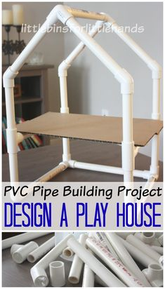 PVC Pipe house building is an easy way to incorporate hands on play and STEM learning together. Designing and building a PVC pipe house is fun! Wood Projects For Kids, Pvc Pipe Projects, Stem Projects, Lathe Projects, Engineering Projects, Stem Activities, In Kindergarten, Play Houses, Diy For Kids
