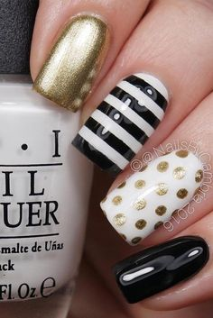 Nail art is a very popular trend these days and every woman you meet seems to have beautiful nails. It used to be that women would just go get a manicure or pedicure to get their nails trimmed and shaped with just a few coats of plain nail polish. Cute Nails, Pretty Nails, My Nails, Prom Nails, Cute Nail Designs, Stripe Nail Designs, Nail Designs For Summer, Nail Art Stripes, Nail Manicure