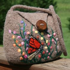 Hand Knit Felt Tan Purse With Needle Felted Flowers and Butterfly by leedrasheirloomgoods