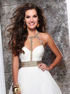 Gold + White Mini Dress by Tarik Ediz