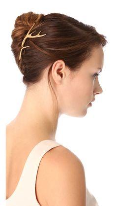 gold antler hair clip //