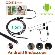 5pcs/lot Micro USB Endoscope Camera 1.5M Android OTG Phone 5.5mm Len inspection Pipe Inspection Camera Industrial Camera