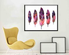 Feather wall art Feather Watercolor Feather prints by DaniJArts