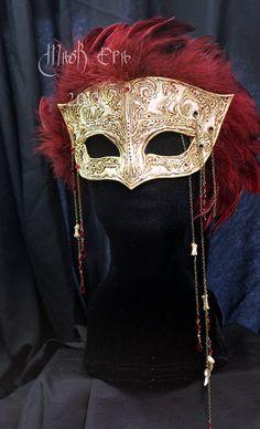 Vampyre - Handmade Leather Mask:  masquerade, Mardi Gras, Vampire, Abhorson,  horror, skull, witch, twilight, costume