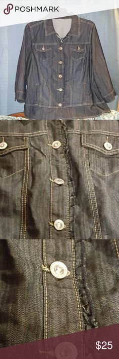 Jean jacket...no tags but never worn..like new. Dark denim jeans jacket with 3/4 sleeves jeweled buttons and ruffle detail. Dress Barn Jackets & Coats Jean Jackets