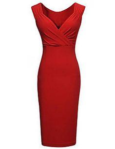 Women's Bodycon/Party V Neck Micro Elastic  Knee length Pencil Dress (Cotton Blends),Sleeveless Plus Size – USD $ 19.98