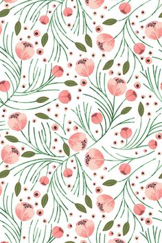 Winter floral pine design by indie designer shopcabin.  This pattern is beautiful as fabric, wallpaper, and gift wrap!  Click to see more color and size options.