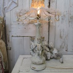 Cherub trio statue table lamp vintage French by AnitaSperoDesign