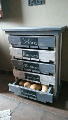 Made this 5 Draw Veggie / Fruit Storage Rack for my wife out of 2 x 1,580mm deconstructed pallets. Height 800mm, 580mm Depth. Painted Grey & White then gave it a distressed/rustic look with a belt sander.